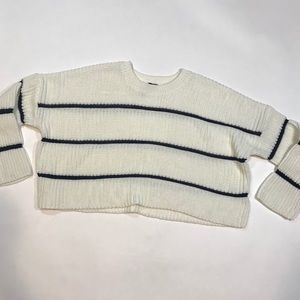 Moon & Madison chunky knit crop sweater stripes